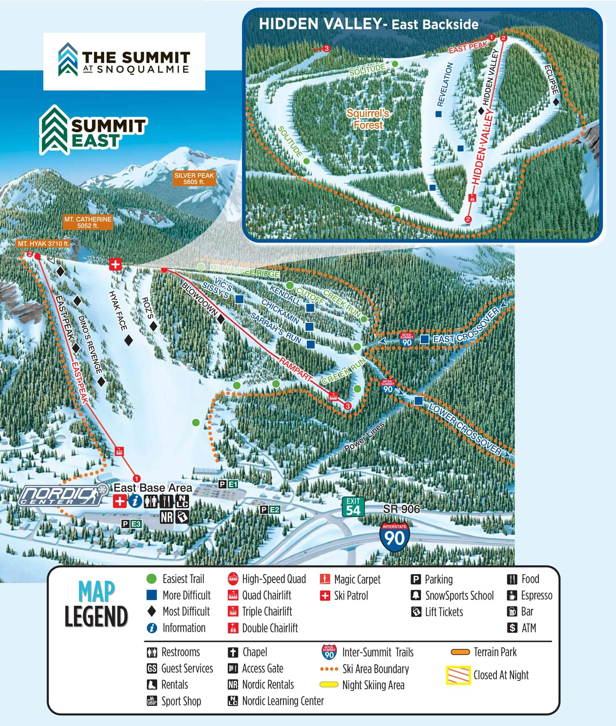 Trail Maps Summit At Snoqualmie - Eastern-us-ski-resorts-map